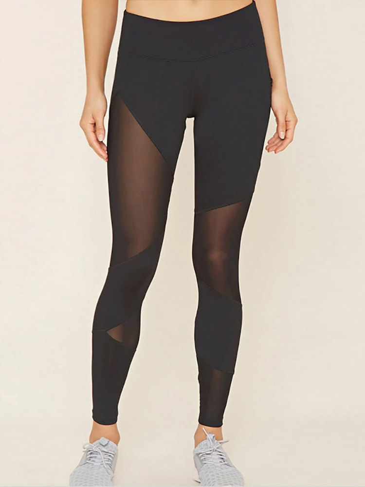 Sexy Black Mesh Patchwork Sports Leggings