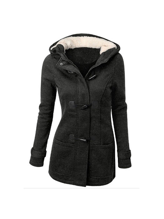 Slim Plain Zipper Hooded Pocket Overcoat