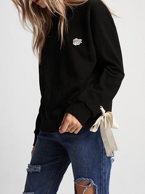 Crew Neck Sleeve Bow Detail Sweatshirt