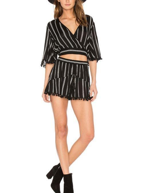 Black And White Stripe Deep V Crop Top