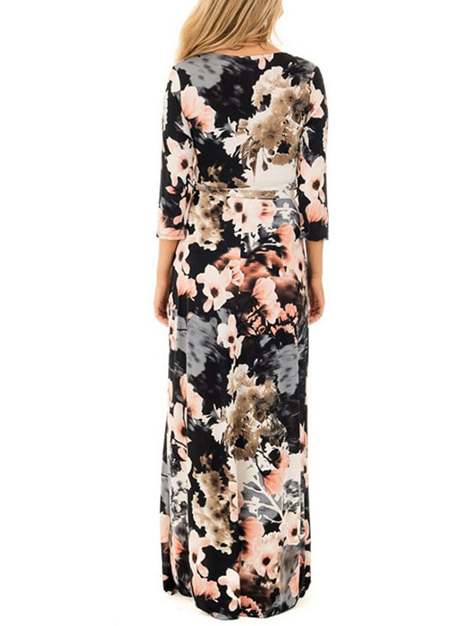 Floral Wrapped V Neck Maxi Dress