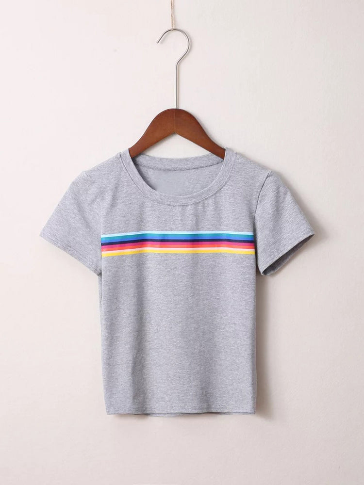 Casual Rainbow Strip Tee
