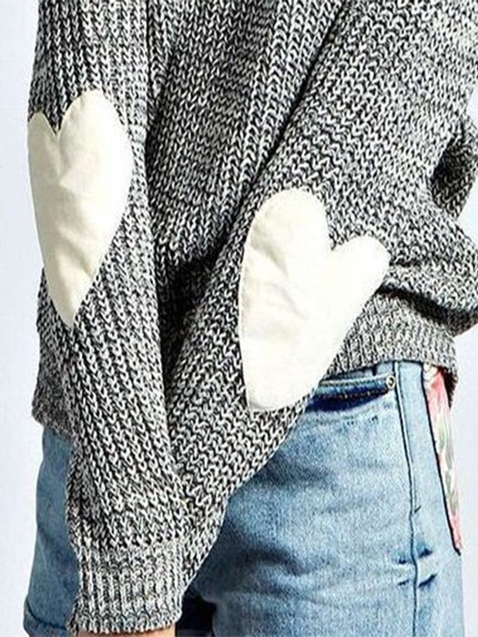 Cute Heart Pattern Patchwork Casual Loose Thin Long Sleeve Round Neck Knitted Sweater Pullover