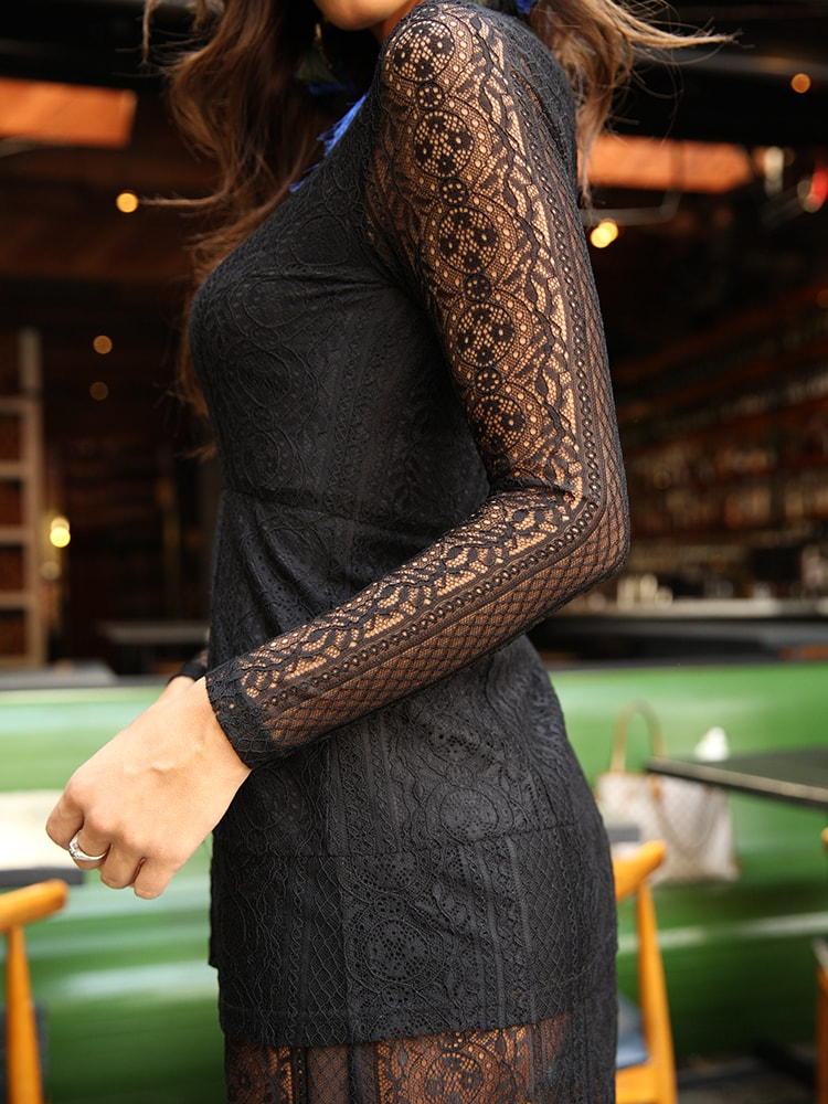 Long Sleeve Lace Dress With Roll Neck In Black