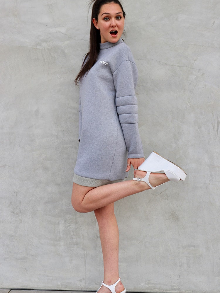 Air Layer Sweater Jumper Dress With Print In Gray