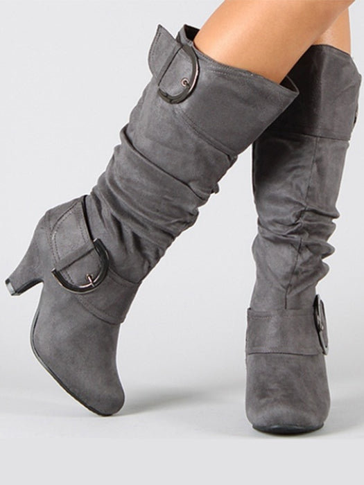 Short Heel Solid Color Pointed Toe Knee High Boots
