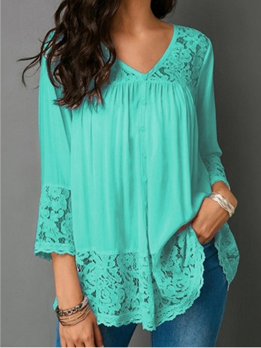 Solid Color Patchwork Lace 3/4 Sleeves T-Shirt