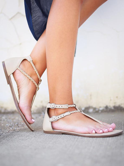 Pure Color Casual Round Toe Flats Sandals