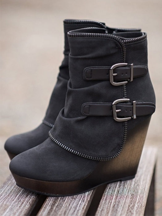 3f4f2667861 Zipper Ankle High Thick Heels Comfortable Boots – WhatsMode