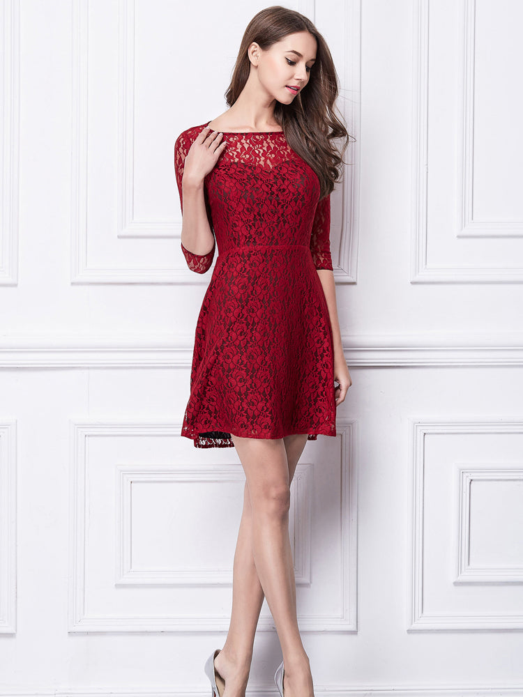 Fit & Flare Illusion  Short  Mini Lace  Formal Evening Dress