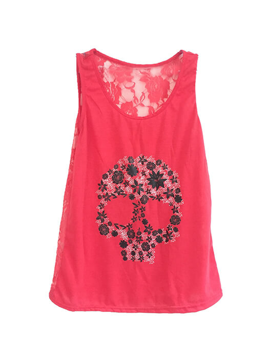 Lace Round Neck Skull Print Top