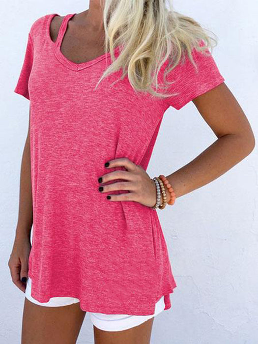 Solid Color Short Sleeve Blouse