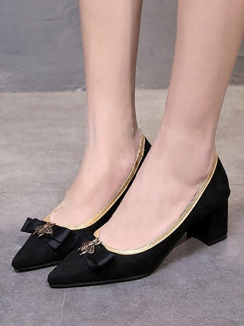 Vintage Pointy Heel with Bee Bow Detail