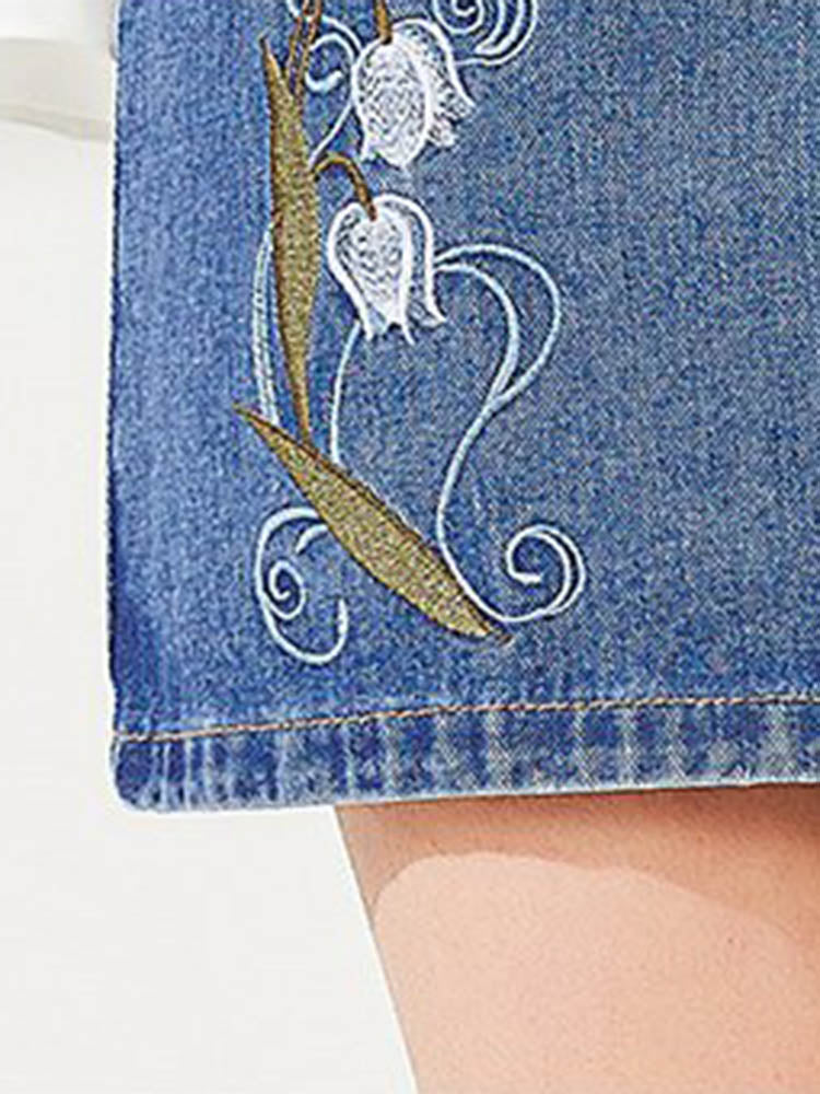 Sweet Embroidery Denim Skirt