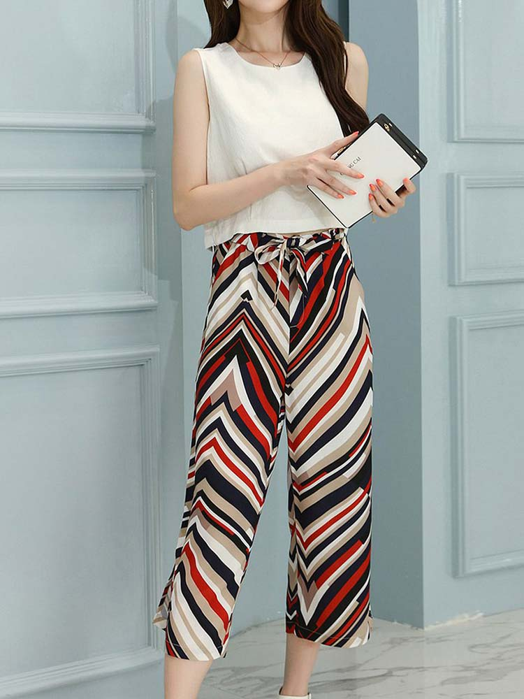 Solid Top And Striped Wide Leg Pants Suit