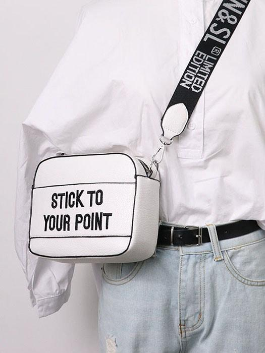 Letter Print Wide Strap Mini Bag