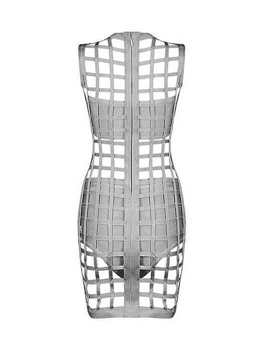 3pcs Gray Caged Bandage Dress