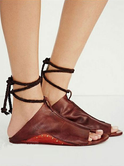 Solid Color Lace-Up Open Toe Flats