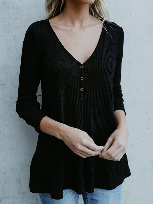 Sexy V Neck Ribbed Knit Sweater - S / Black 30733NC-S- Black