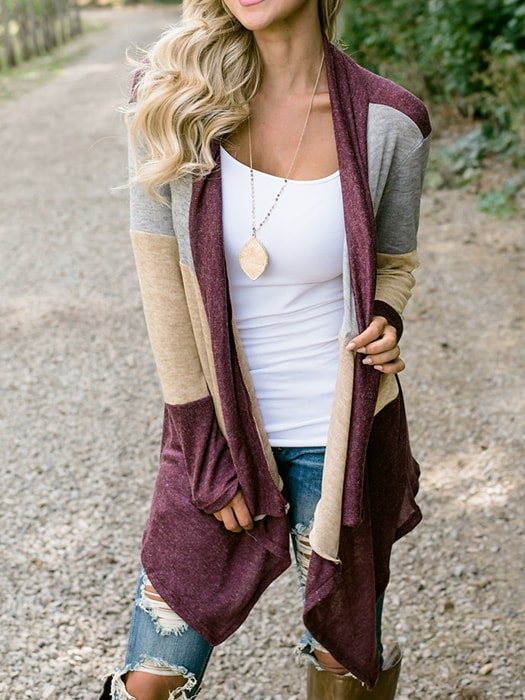 Collarless Color Block Cropped Cardigan