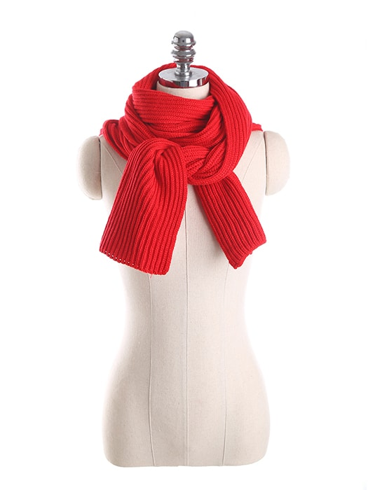 Solid Color Hooded Knit Scarf