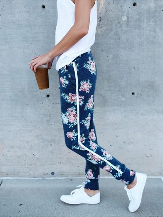 Floral Tapered Pants With Drawstring