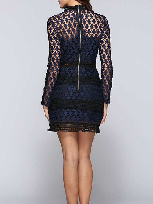 Lace Long Sleeve Floral Formal Dress