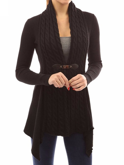 Cozy Knit Collarless Cropped Cardigan With Buckle
