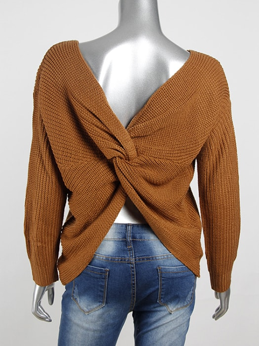 Back Bow Soft Pullovers Thin Sweaters Jumper