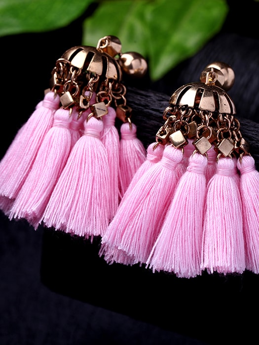 Bullet-clutch Back Tassel Statement Earrings