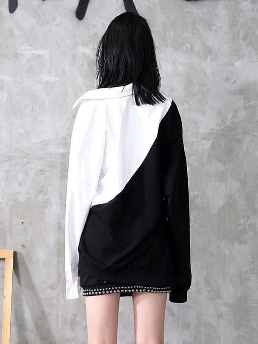 Spliced Cropped Point Collar Sweatershirt