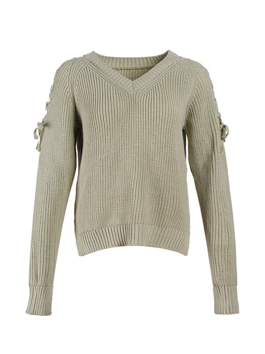 Lace Up Round Neck Knit Sweater