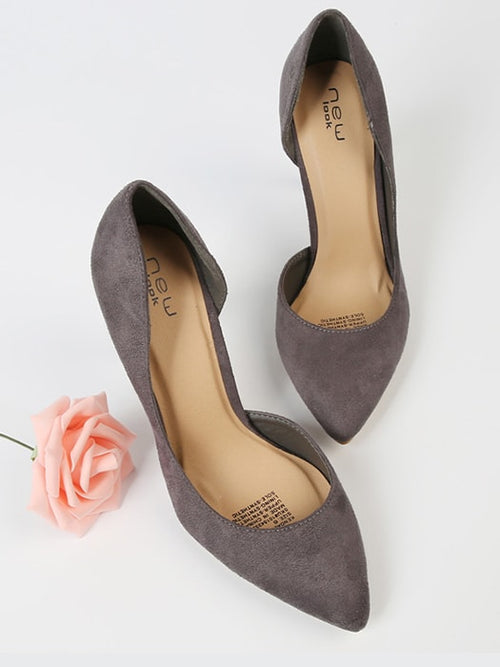 Faux Suede Point Toe High Heel Pumps