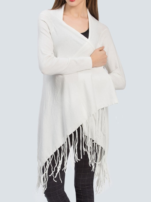 Fringed Collarless Solid Color Cropped Cardigan - F / White 22708