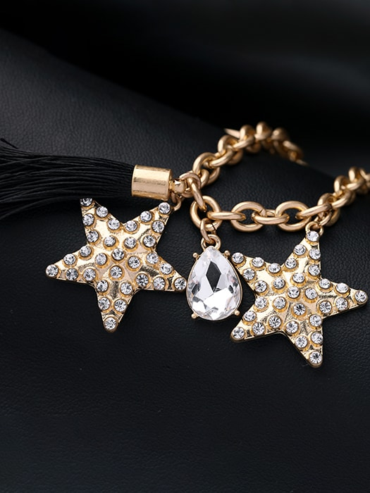 Gold-tone Finished Star Figure Drop Necklace