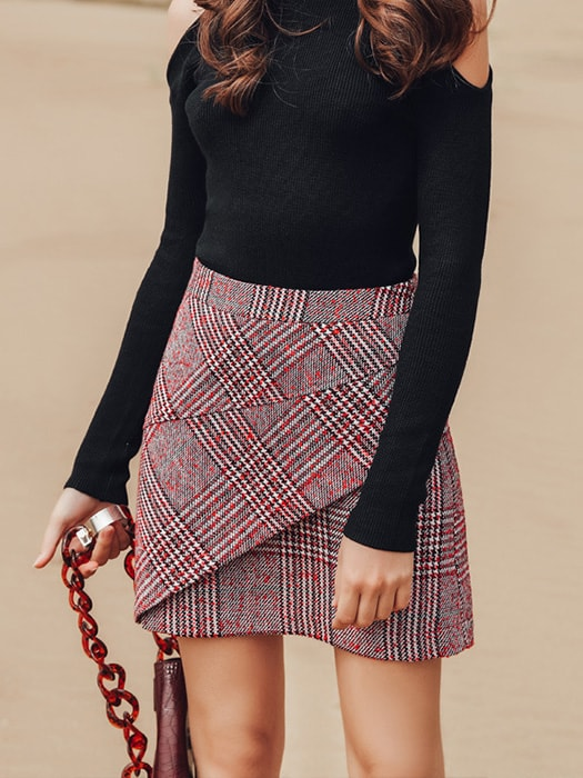 A-line Plaid Layered Mini Skirt