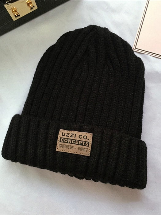 Turn-up brim Beanie Hat With Logo Front