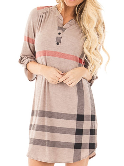 Checked Buttoned Neck Shirt Dress With Curved Hem