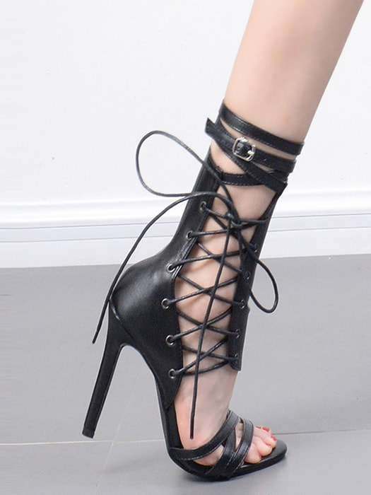 Hollow Out Pointed High Heels Sandals With Open Toe & Lace Up
