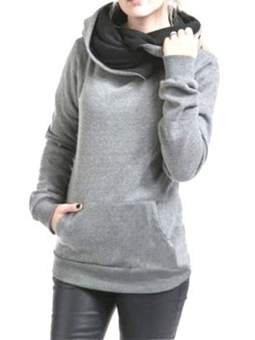 Wrapped Roll Neck Solid Color Sweatshirt