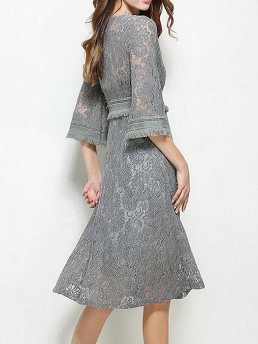Cutwork Lace V-neck Tasseled A-line Dress