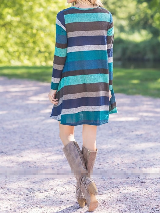 Color Block Stripe Pleat Dress
