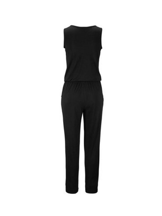 Zipped Plunge Collar Jumpsuit With Waist Drawstring