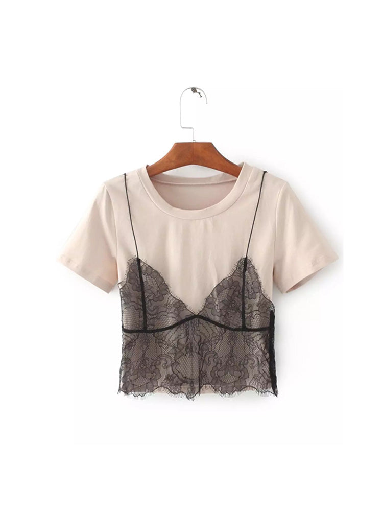 Chic T-shirt Tiered With Lace Layer