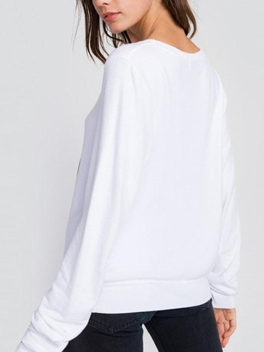 Letters Printed Cotton Long Sleeve T-Shirt