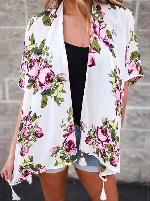 Floral Print Cover Up With Fringes