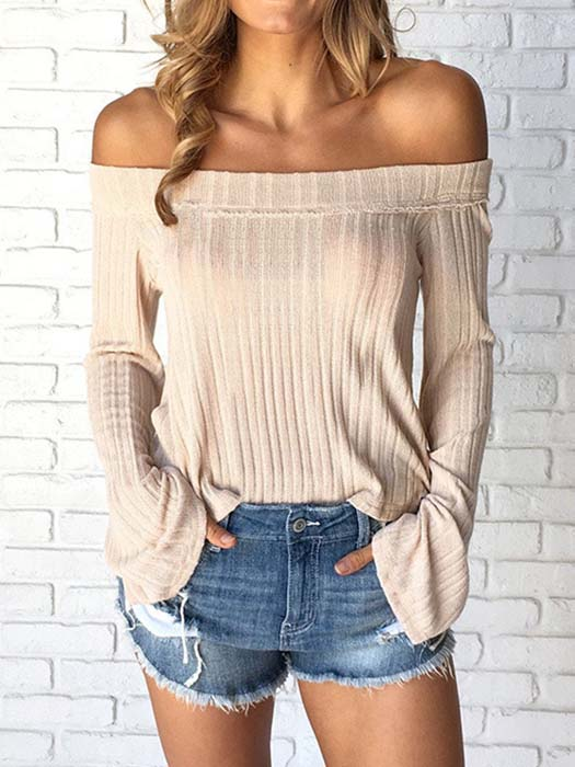 Boat Neck Flare Sleeve Top