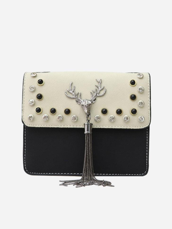 Deer Head Tassel Studded Bag