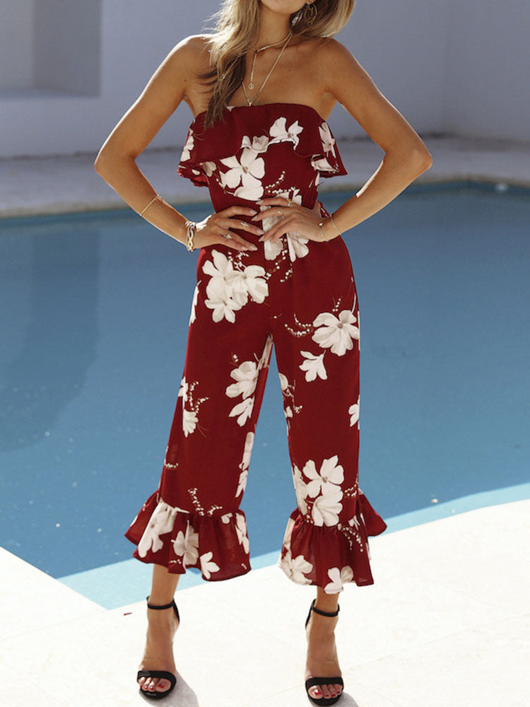 Escape Floral Bandeau Jumpsuit
