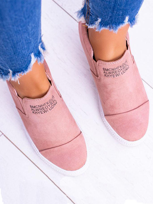 71c74d4fa5d2 Letter Slip On Faux Suede Wedge Heel Sneakers – WhatsMode